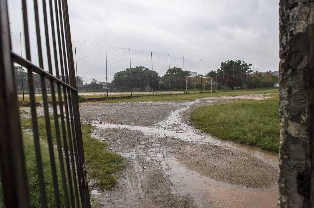 Entrada do campo do Tiradentes, onde Gabriel jogou nos tempos de garoto