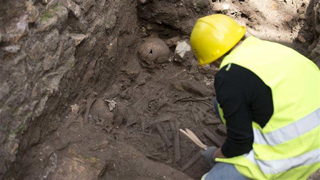 Ossements découverts par les archéologues sur le site de la caserne