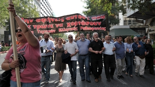 Greek journalists and media workers staged a strike yesterday