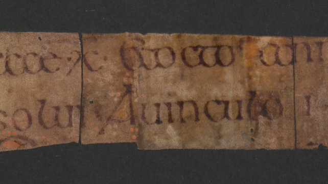The fragments were discovered in the spine of a book and were probably used as stuffing for the binding