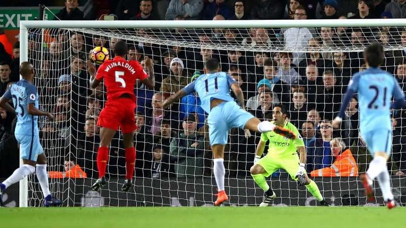 Georginio Wijnaldum heads home the winner for Liverpool