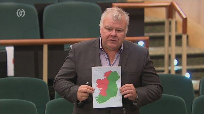 Michael Fitzmaurice held up a map in the Dáil highlighting the lack of Cabinet appointments of TDs from the west