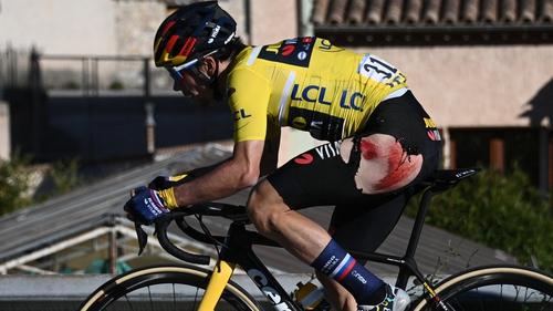 https www rte ie sport cycling 2021 0314 1203956 roglic crash gifts schachmann paris nice victory