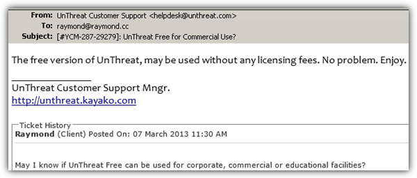 UnThreat free for commercial