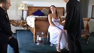 Cute bride getting fucked by two porn image