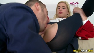 Carmen Monet sucks huge cock and gets cum in her mouth porn image