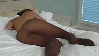 Hot closeup show of hairy slit and feet in hose porn image