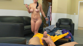 Kimmy Kush gives an okay blowjob and wraps her breasts around the shaft porn image