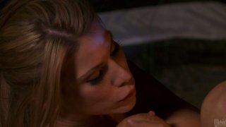Sexy blonde Aleksa Nicole rides her boyfriend on the camping trip porn image