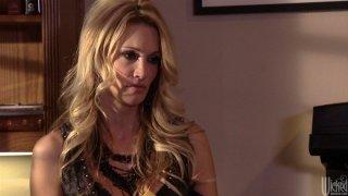 Slutty blond girlie Jessica Drake sucks a lawyer's cock porn image