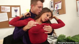 Hot seductress Madison Ivy flirts with horny guy porn image