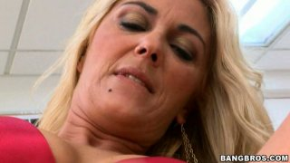 Ugly granny Jazella Moore teases the guy rubbing her pussy and later gives him_a blowjob porn image