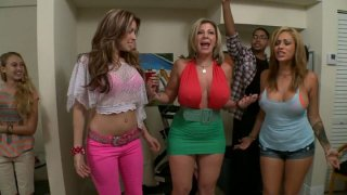 Beer pong in_a dirty way with Courtney Cummz, Sara Jay and Jamie Valentine porn image
