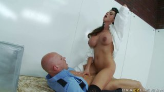 Busty brunette Ariella Ferrera pleases a cock of the cop porn image