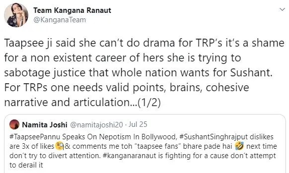 Team Kangna Slams Tapsee Time starts now': Kangana Ranaut lists 3 points for Taapsee Pannu ...