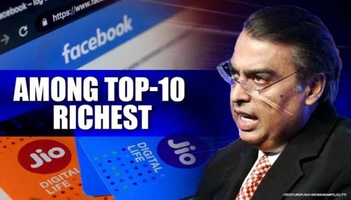 mukesh ambani joins club of world's 10 richest as net worth jumps to $64.6 bn