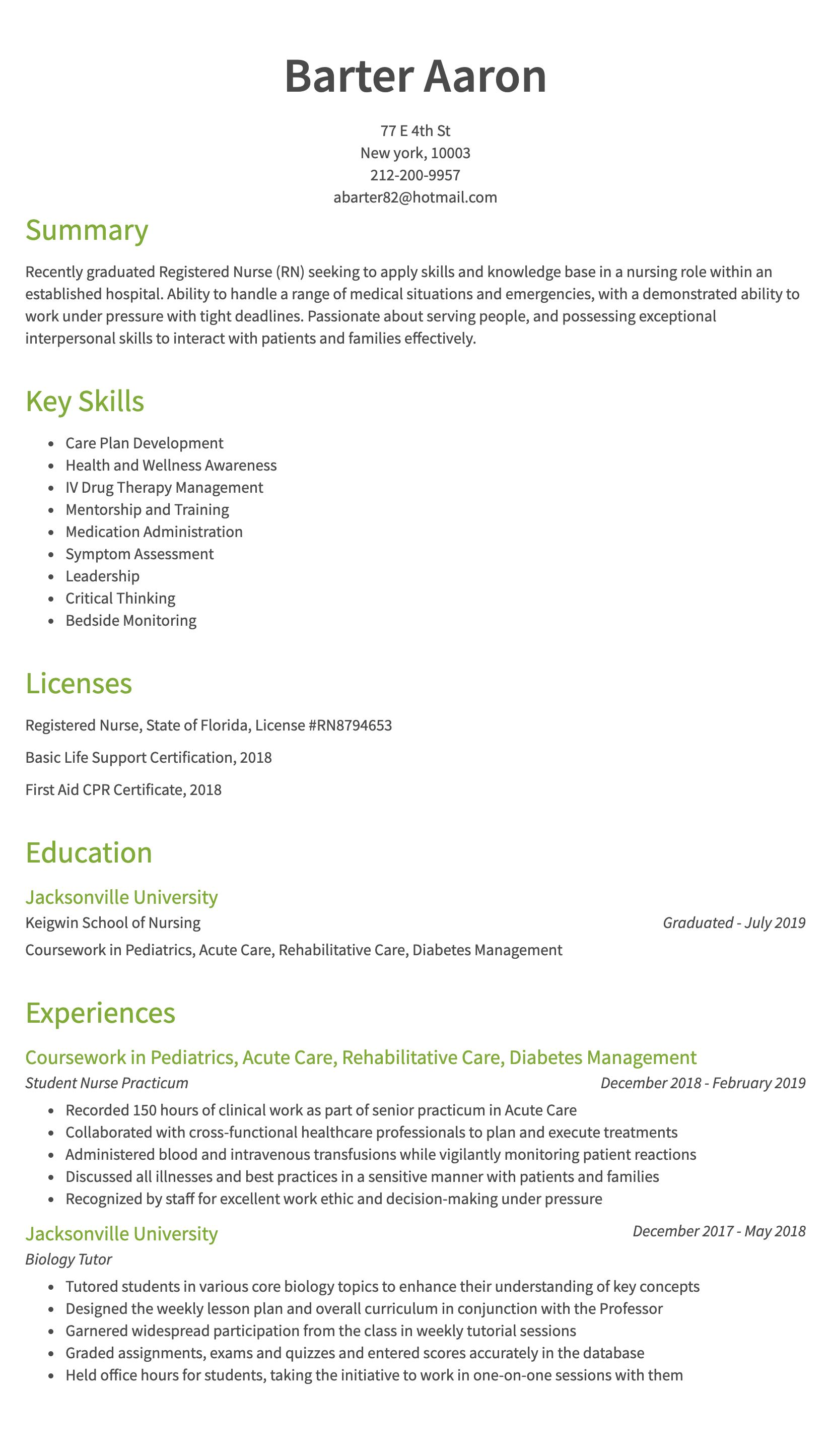 30 Nursing Resume Examples Amp Samples