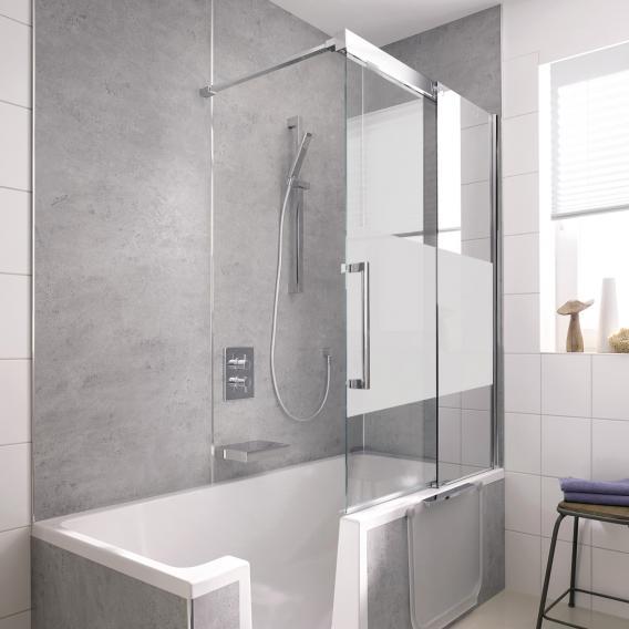 hsk k2p porte coulissante pour pare baignoire 2 elements verre trempe traite et depoli au milieu aspect chrome