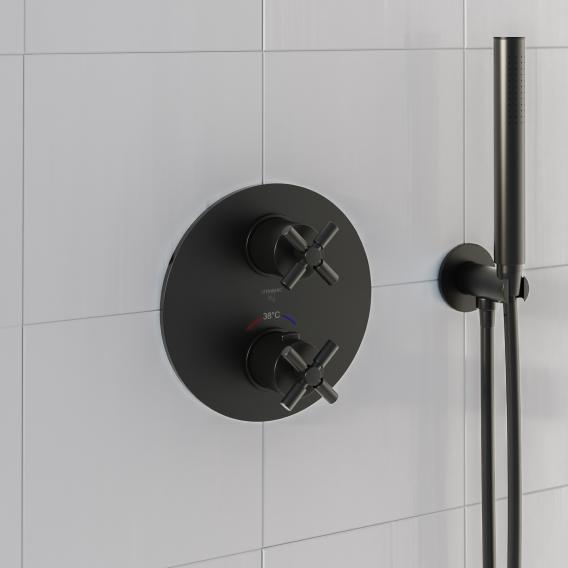 steinberg sensual rain set d installation pour mitigeur thermostatique de douche encastre avec inverseur 2 voies noir mat
