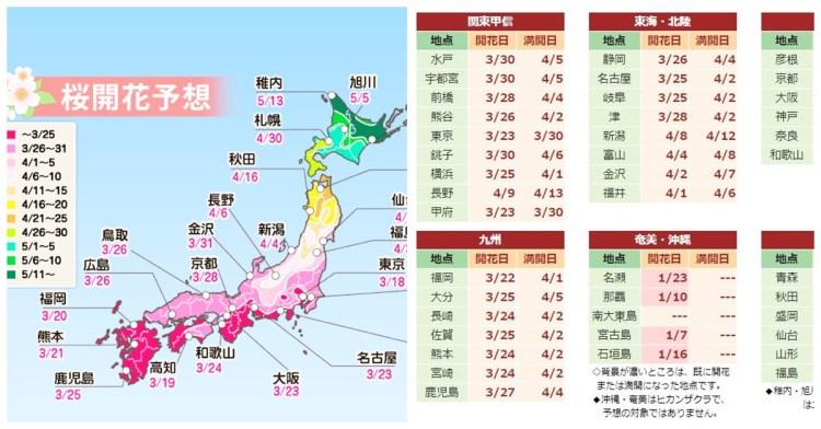 2019日本櫻花預測 | 東京大阪京都櫻花情報 日本櫻花開花、櫻花滿開前線情報!!