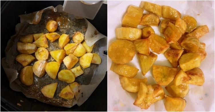 氣炸鍋料理食譜 | 簡單做拔絲地瓜 不用油炸只需氣炸鍋