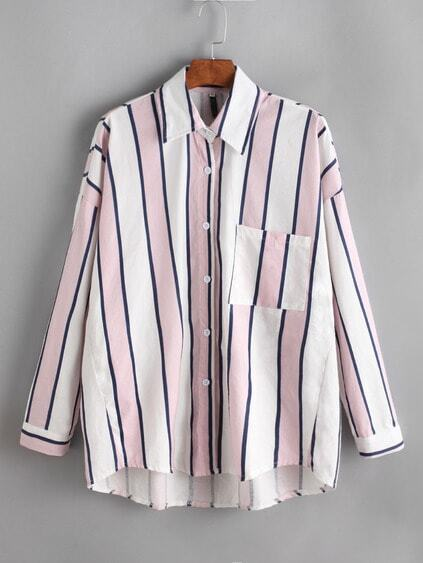 Chemise contrasté à rayures à l'épaule laissé avec poches