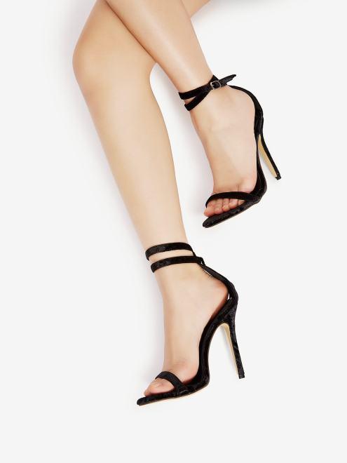 sandalias tiras tacón negras low cost zapatos baratos económicos black friday romwe