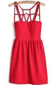 Cut-out Upper Sleeveless Red Smock Dress