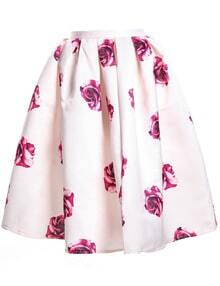 Rose Print Pleated Skirt