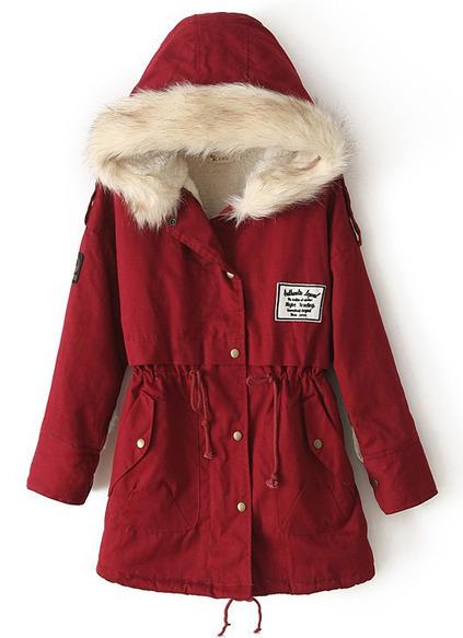 Zipper Embellished Fleece Inside Military Red Coat pictures