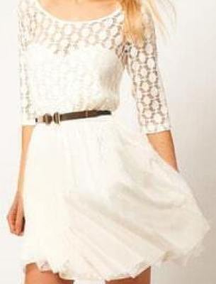 Romwe Double-layered Hollowed White Dress
