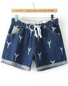 Drawstring Cuffed Tower Print Blue Denim Shorts