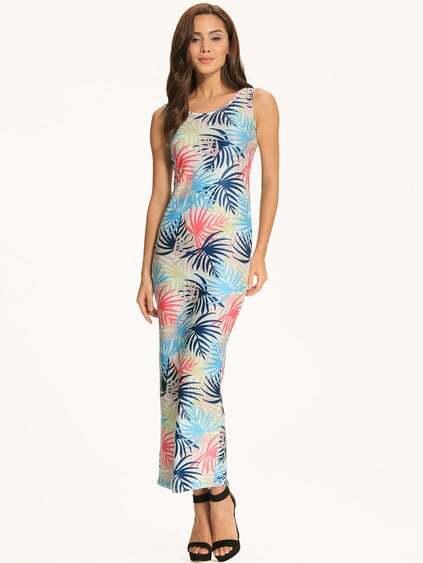 Blue Tropical Print Scoop Neck Maxi Dress pictures