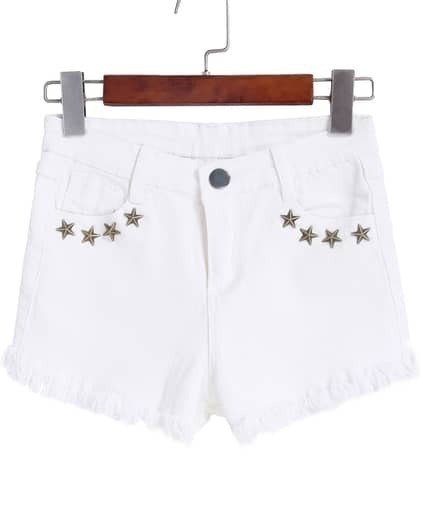 Pentagram Rivet Fringe Denim Shorts