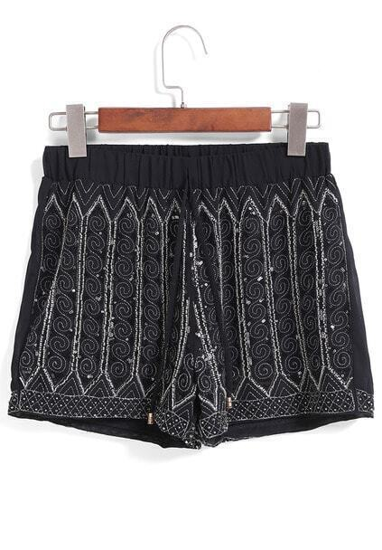 Elastic Waist Sequined Bead Black Shorts