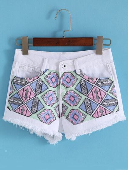 Embroidered Fringe Denim Shorts
