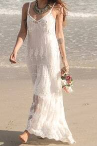White Spaghetti Strap Lace Maxi Dress