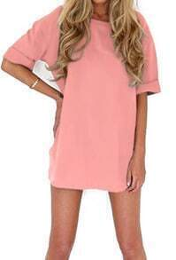vestido recto manga corta-rosado