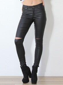 Black PU Leather Slim Pant
