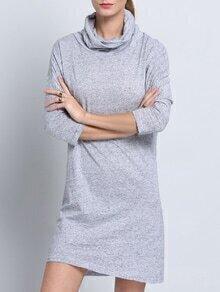 Vestido manga larga casual -gris
