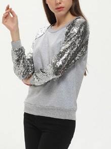 Grey Long Sleeve Sequined Sweatshirt