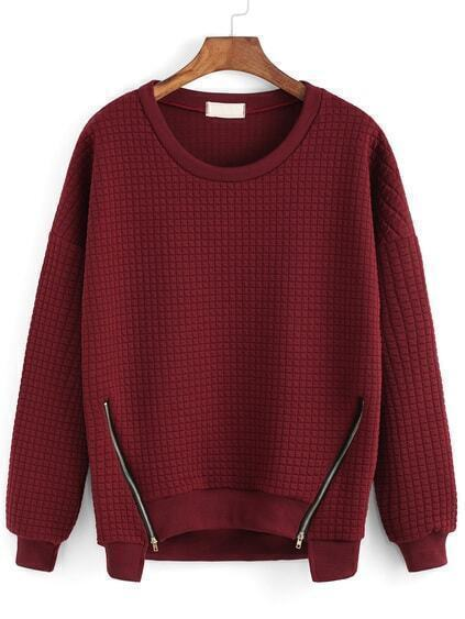 Round Neck Zipper Red Sweatshirt pictures