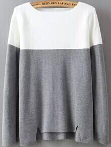 jersey cuello barco recorte-blanco y gris