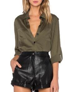 blusa solapa botones bolsillos-verde