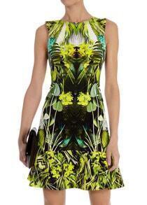 vestido línea A sin manga-verde