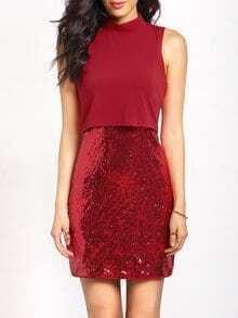 Vestido sin manga lentejuelas entallado -rojo