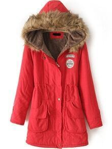 Hooded Drawstring Letter Patch Red Coat