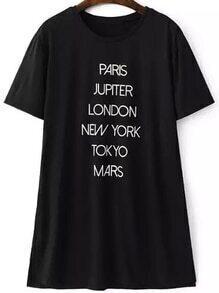camiseta letra recorte estampada
