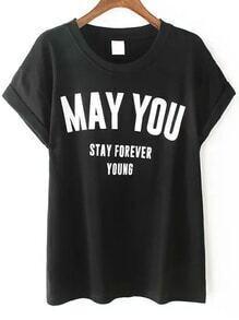 camiseta letra manga corta cuello redondo-negro