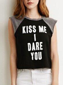 Camiseta combinada letras